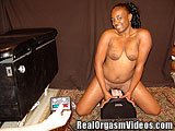 Ebony Teen Having Her First Ride On a Sybian