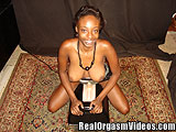 Busty Black Spinner Orgasms Riding the Sybian