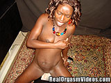 Young Ebony MILF Cums Riding the Sybian