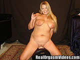 Voluptuous Blonde Orgasms Riding the Sybian